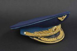 Casquette de général d'aviation soviétique En tissu bleu foncé, bandeau bleu ciel, insigne