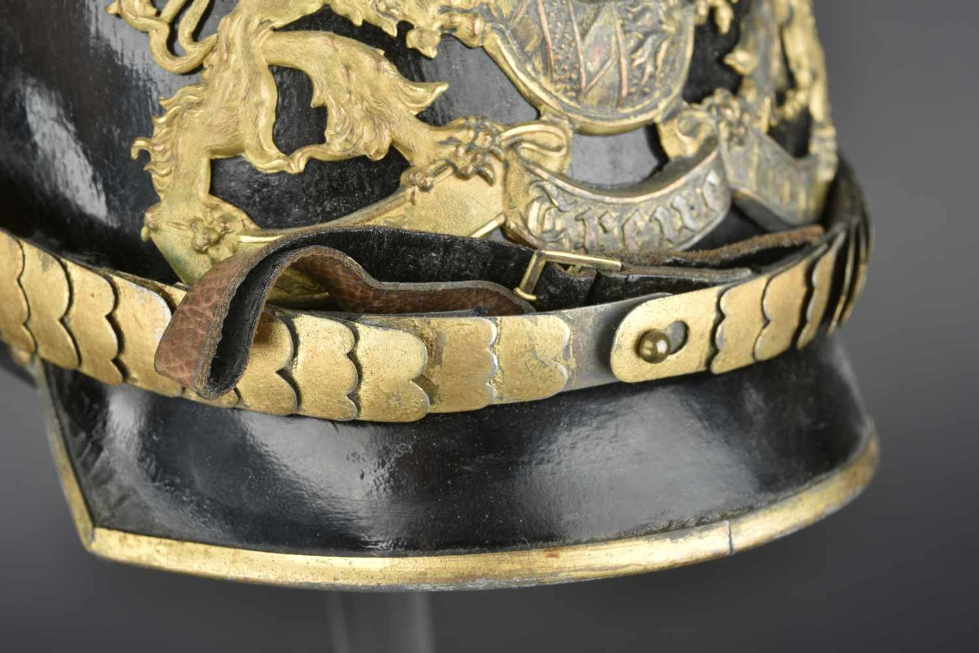 BAVIÈRE Casque d'Officier des régiments de chevaux léger Bavarois modèle 1915 En métal de guerre - Bild 3 aus 4