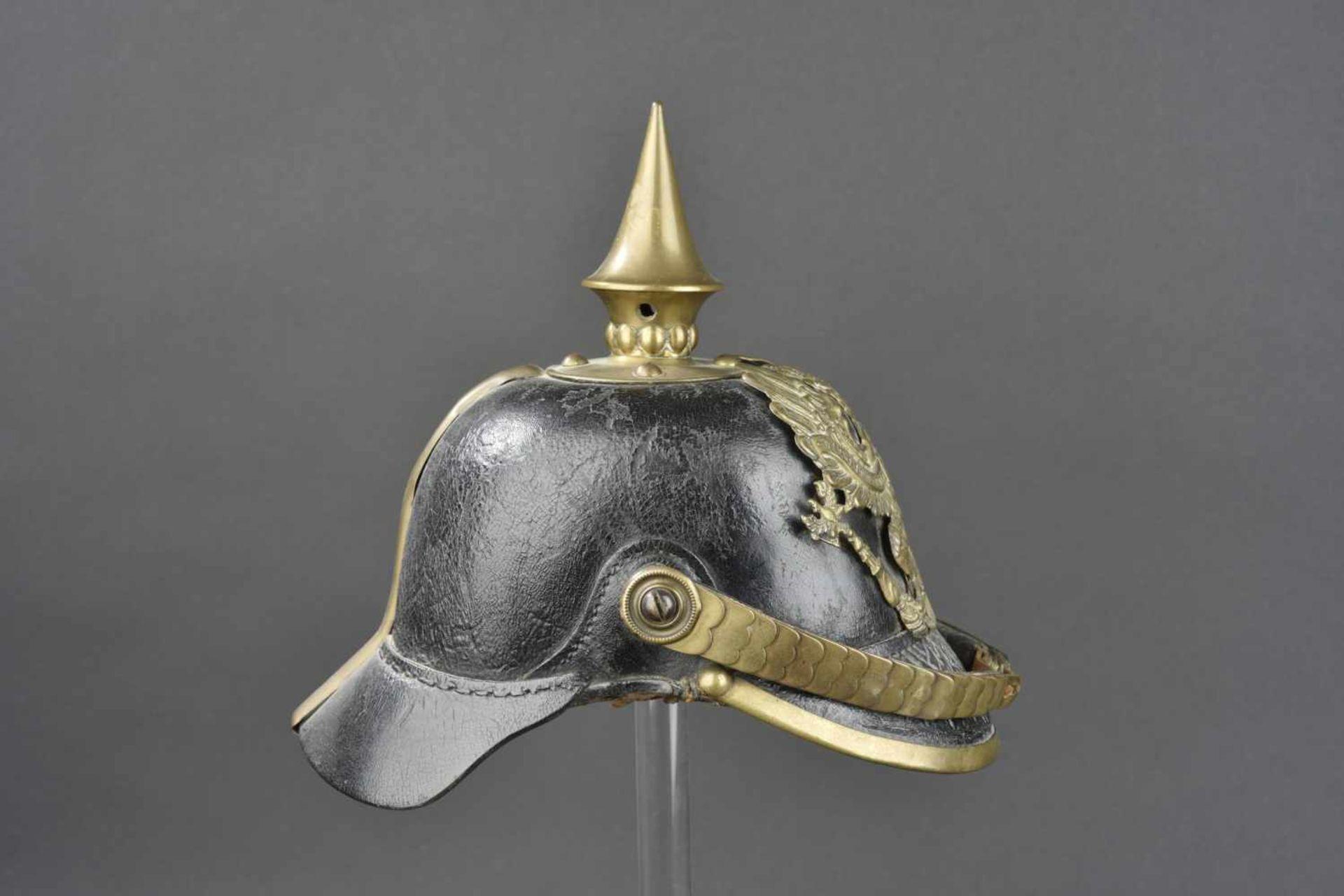 PRUSSE Casque à pointe de troupe de l'infanterie Prussienne, modèle 1867/71 Ce type de casque a - Bild 4 aus 4