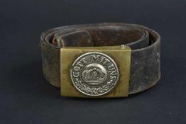 Ceinturon de la première guerre mondiale Ceinturon en cuir noir, coutures refaites. Aucuns marquages