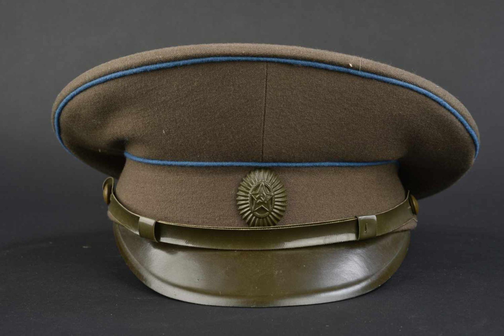 Casquette combat de général soviétique de l'armée de l'air En tissu kaki, double liseré bleu. - Bild 4 aus 4
