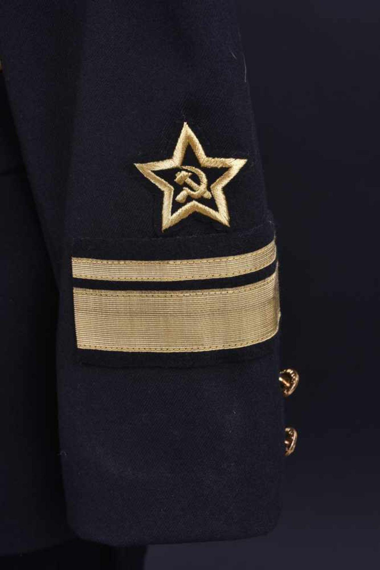 Uniforme de Contre amirale soviétique, année 1975 Vareuse en tissu noir, grades de col brodés en fil - Bild 3 aus 4