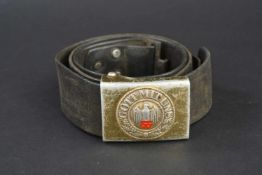 Ceinturon de la Kriegsmarine Ceinturon en cuir noir, crochet en métal, modification d'époque par