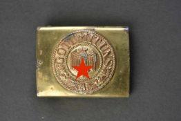 Boucle de ceinturon de la Kriegsmarine En métal doré, premier type. Dorure à 90%, plaque centrale de