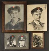 Ensemble de photos de la Kriegsmarine Comprenant une photo sous cadre en bois, dimensions 26 x 19