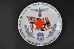 Assiette Meissen Marine Hält am Altantic Wall Treue Wacht fürs Vaterland Abschnitt Normandie En