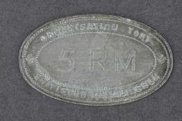 Plaque de l'Organisation Todt En métal de forme ovale. Marquée Organisation Todt Britishe