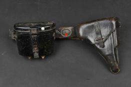 Ceinturon et équipement de la Luftwaffe Comprenant un ceinturon en cuir noir, daté 1938, le marquage
