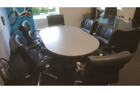 Contents Of Office Including Monitors Conference Table W - Oval conference table for 6