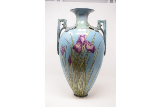 An Early 20th Century Two Handled Vase Decorated Lilies On A