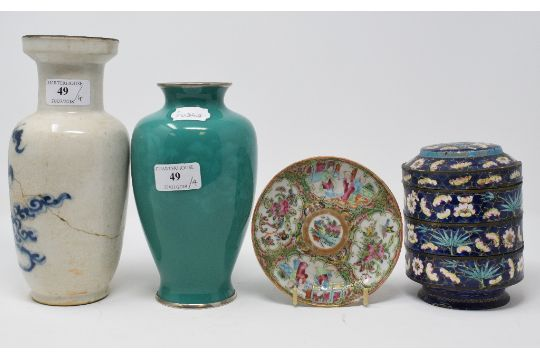 A Japanese Ando Green Cloisonn Vase Decorated Flowers And Foliage