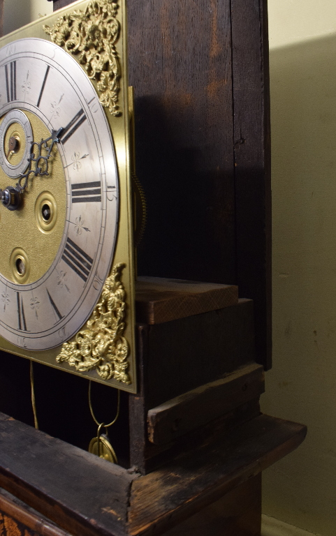 A longcase clock, the 27 cm square brass dial with a silvered chapter ring having Roman numerals, - Image 9 of 15