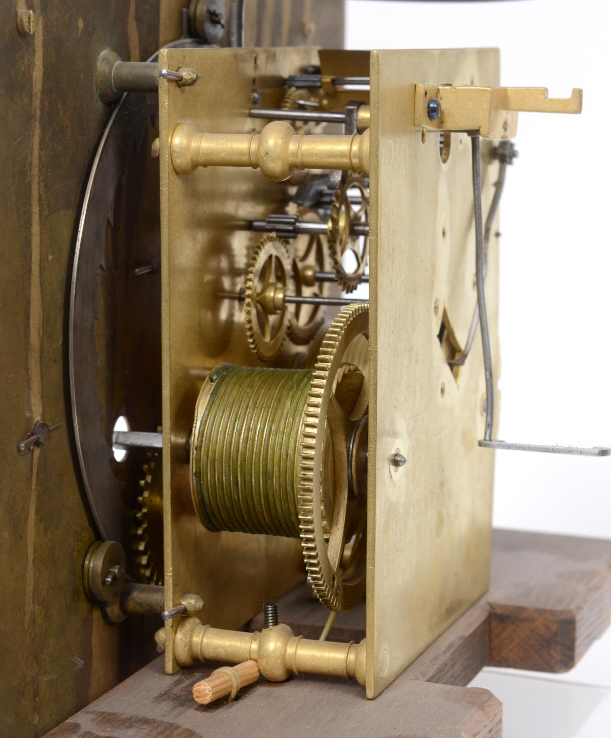 A longcase clock, the 27 cm square brass dial with a silvered chapter ring having Roman numerals, - Image 6 of 15