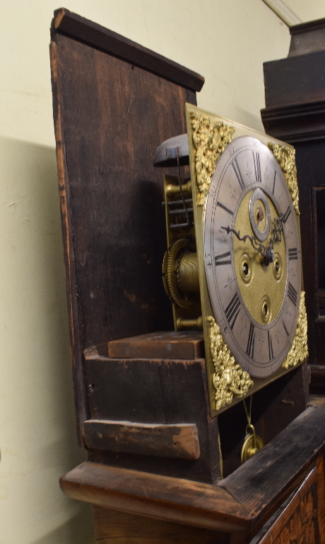 A longcase clock, the 27 cm square brass dial with a silvered chapter ring having Roman numerals, - Image 8 of 15