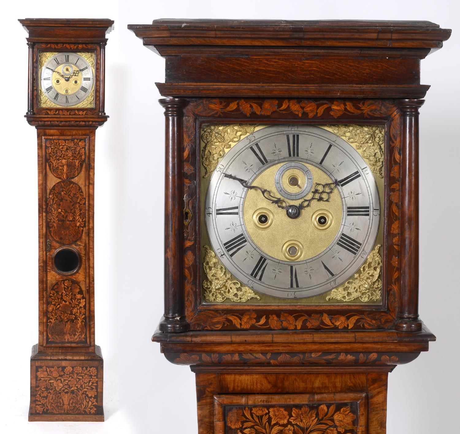 A longcase clock, the 27 cm square brass dial with a silvered chapter ring having Roman numerals, - Image 2 of 15