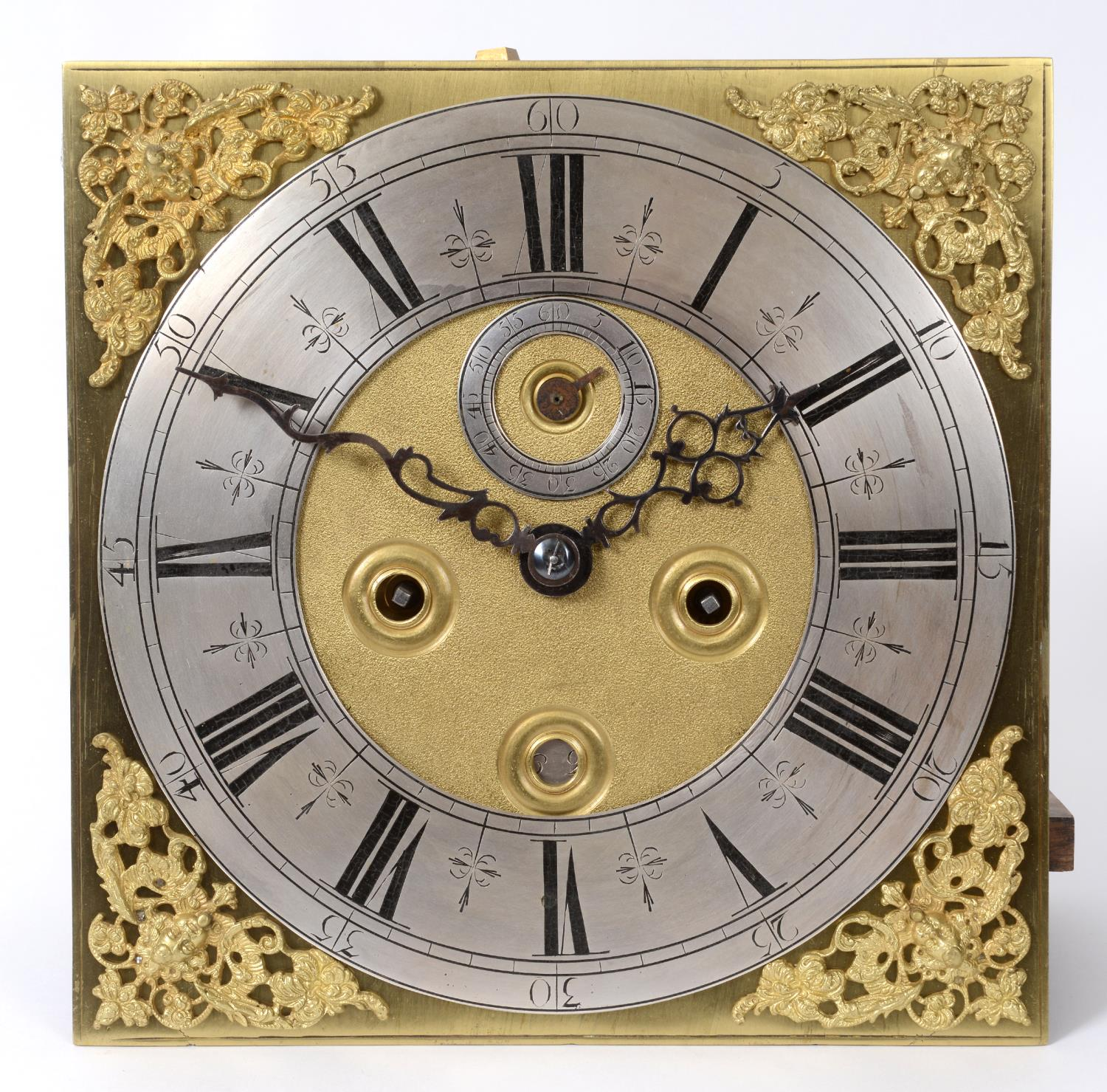 A longcase clock, the 27 cm square brass dial with a silvered chapter ring having Roman numerals, - Image 3 of 15