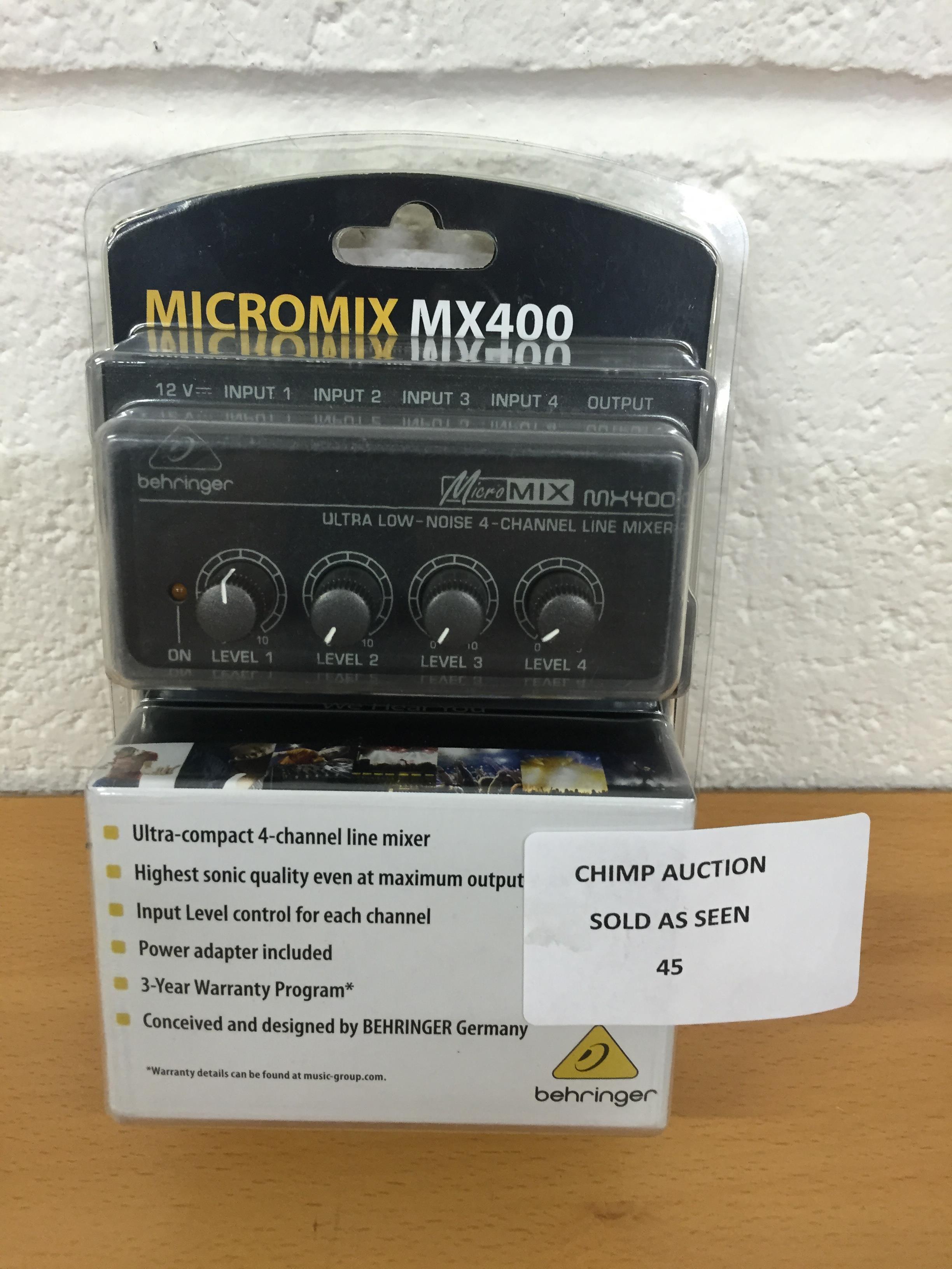 Lot 45 - Behringer MX400 Micromix Low Noise 4 Channel Mono Line Mixer