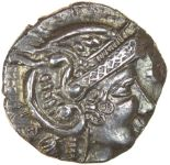 Lot 18 - Bury Helmet. Talbot Bury C, sub-type 1, dies B/3. c.50-40 BC. Celtic silver unit. 15mm. 1.49g.