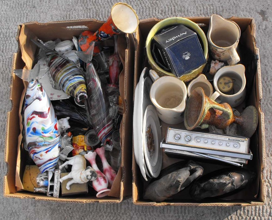 Lot 25 - Two boxes of mixed ceramics & other items.