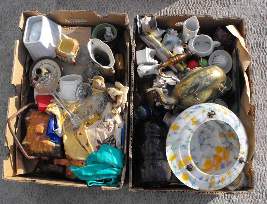 Lot 24 - Two boxes of mixed ceramics and other items.