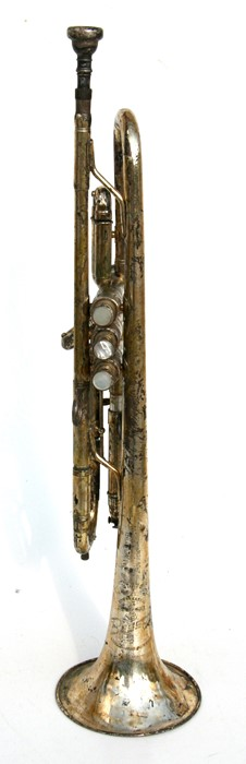 Lot 49 - A Besson 'New Creation Class A' silver plated trumpet, 55cms (25.75ins) long.