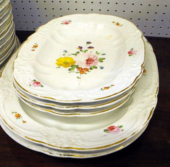 Lot 17 - A large quantity of 19th century Bloor Derby dinner ware decorated with flowers and gilt highlights,