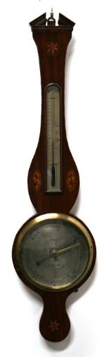 "Lot 52 - A Regency mahogany banjo barometer, the 9"" silvered dial signed 'Gally & Co., Exeter', the case"