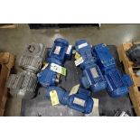 (5) SEW electric motors and gearboxes, 0.75 hp to 1.5 hp. (See photos for additional specs). **Riggi