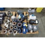 Pallet of electric motors, cores, gearboxes. (See photos for additional specs). **Rigging Fee: $35**