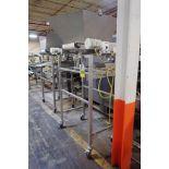 Belt conveyor, 36 in. long x 18 in. wide x 78 in. discharge, SS hopper, 36 in. wide x 44 in. long, S