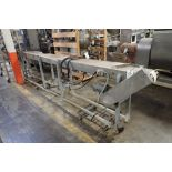 Table top belt conveyor, 192 in. long x 10 in. wide x 40 in. tall, mild steel frame, motor and drive