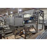 Ohlson 2 lane scale, Model 462-D3-50-10P1, SN 1633930H, with SS vibratory feeders, SS frame, **Riggi