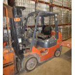 """TOYOTA 7FGCU25 LPG FORKLIFT WITH 4500 LB. CAPACITY, 189"""" VERTICAL LIFT, SIDE SHIFT, CUSHION TIRES,"""