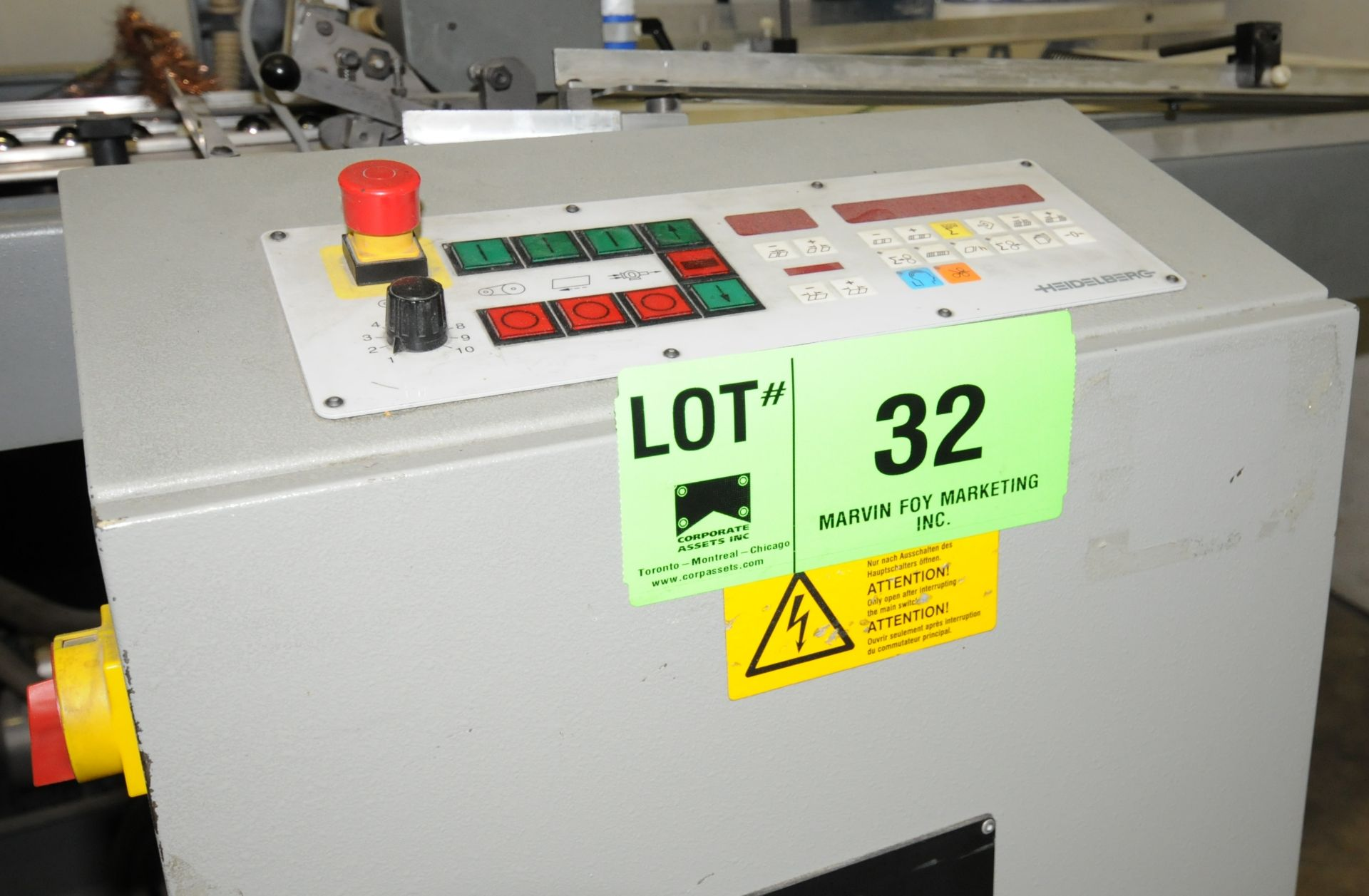 "Lot 32 - BAUMFOLDER 2020 SINGLE STATION FOLDER WITH HEIDELBERG DIGITAL MICROPROCESSOR CONTROL, 20"" MAX"