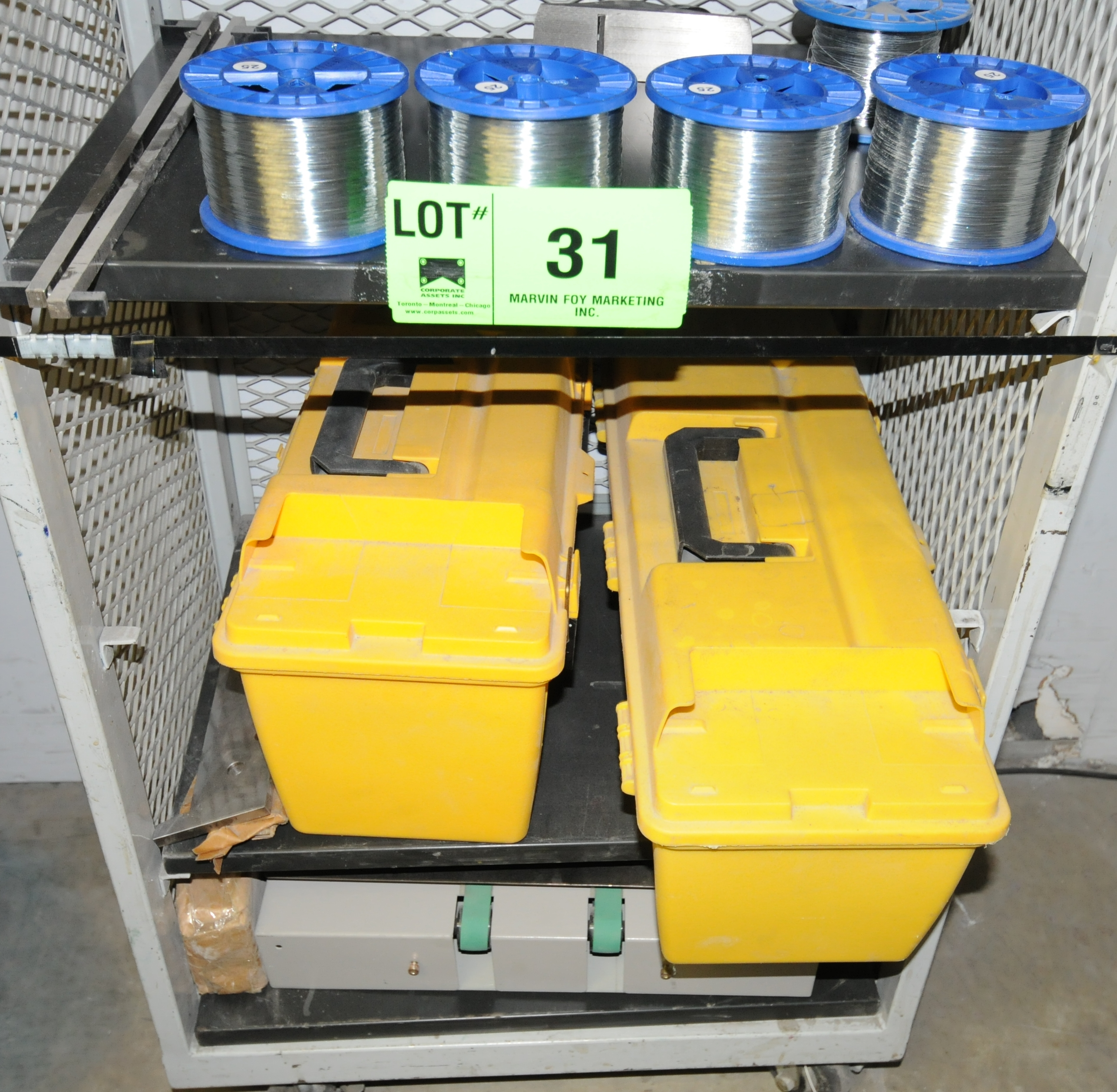 Lot 31 - LOT/ CART WITH BOOKLET MAKER TOOLING AND WIRE