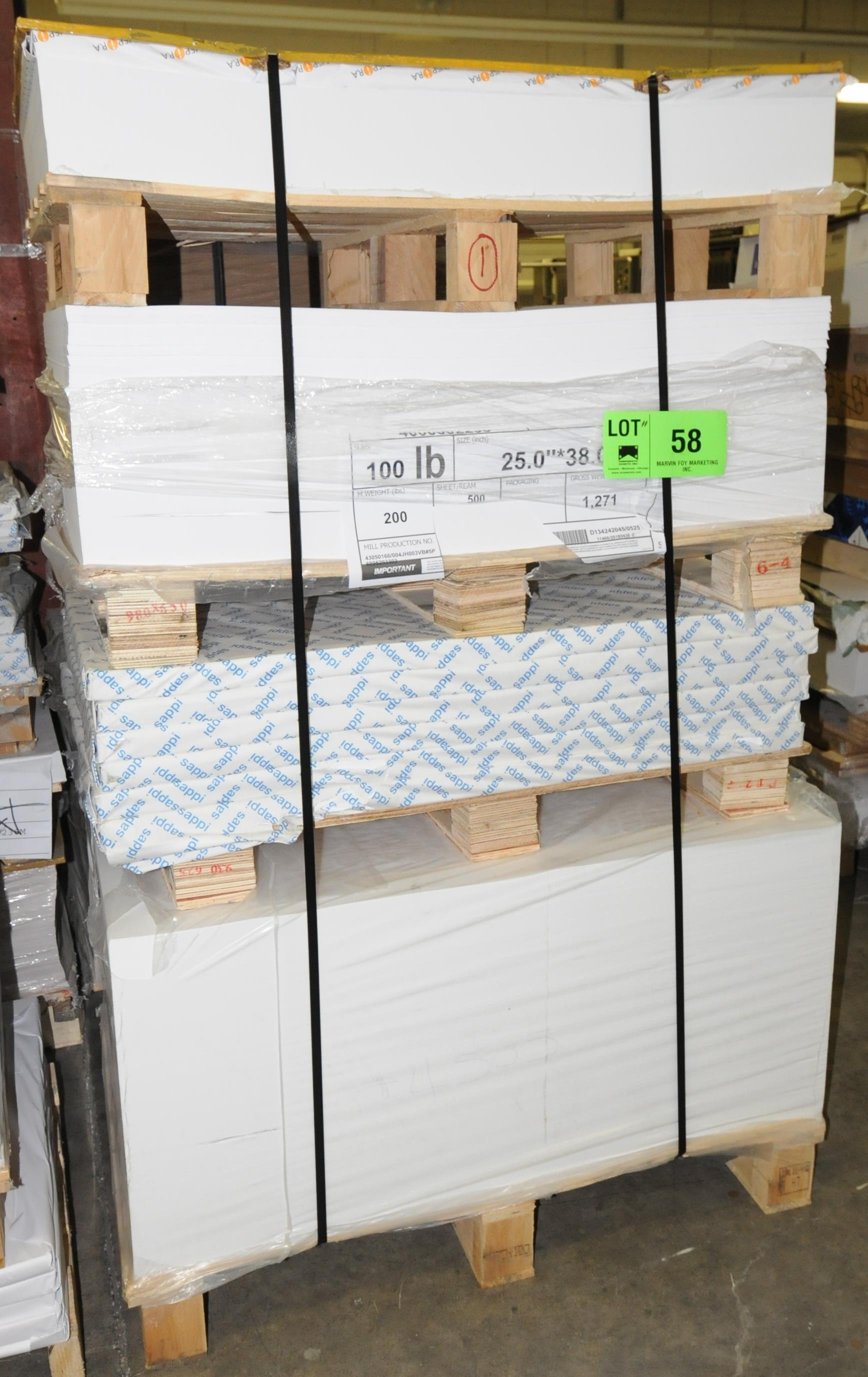 Lot 58 - LOT/ RAW MATERIALS - (2) PALLETS OF STOCK PAPER