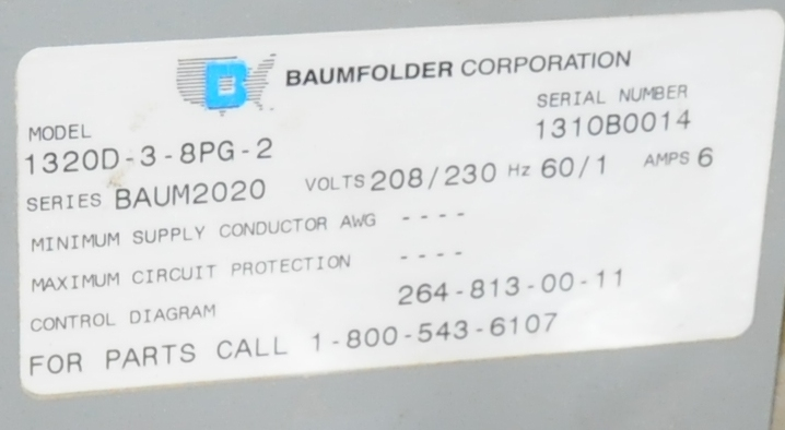 Lot 33 - BAUMFOLDER 2020 SECOND STATION FOLDER ATTACHMENT, S/N N/A (CI) [RIGGING FEE FOR LOT #33 - $250 USD -