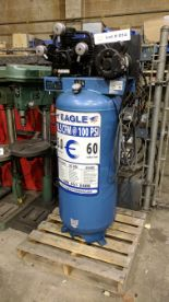 Lot 14 - EAGLE C5160V1 PISTON TYPE TANK MOUNTED AIR COMPRESSOR WITH 5HP, 60 GAL, 18.5 CFM @ 100 PSI CAPACITY,