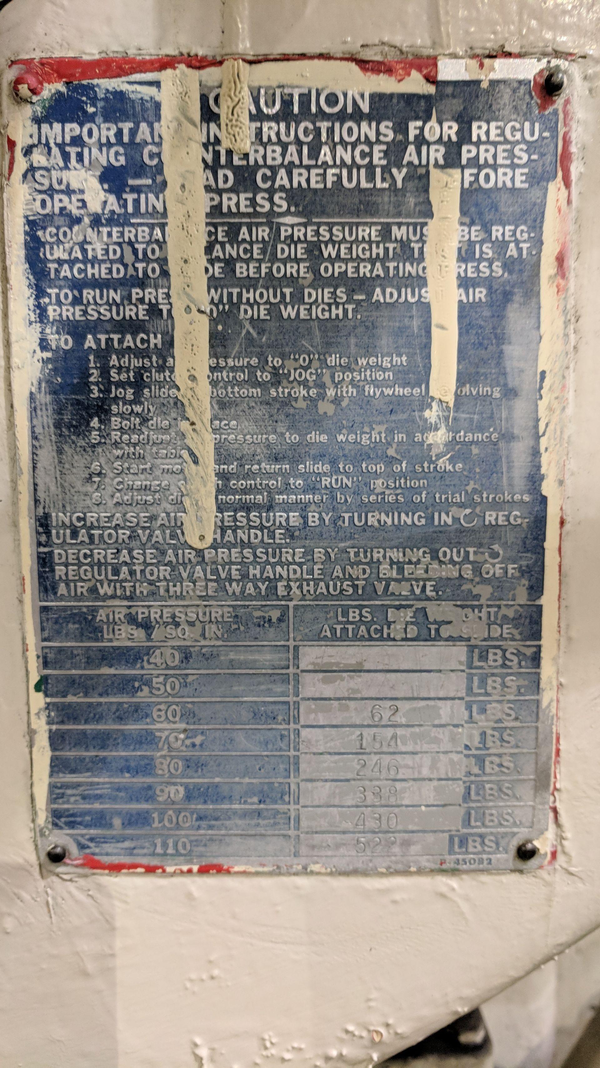 "Lot 2 - NIAGARA A 3-1/2 45 TON CAPACITY OBI PUNCH PRESS WITH 36""X24"" BED, 18""X16"" RAM, 16"" SHUT HEIGHT, 6"""