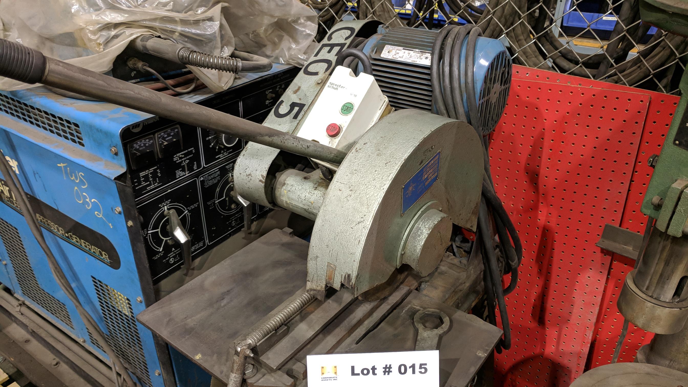 "Lot 15 - JET COM-16 HEAVY DUTY FLOOR TYPE ABRASIVE CUT OFF SAW WITH 16"" WHEEL, 5HP, 575V/3PH/60HZ, S/N"