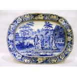 """19th century blue and white meat plate """"The Beemaster"""" (illustrated from a painting in Bradford"""
