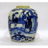 Chinese porcelain ginger jar, ovoid, with underglaze blue painting of figures in garden, 13.