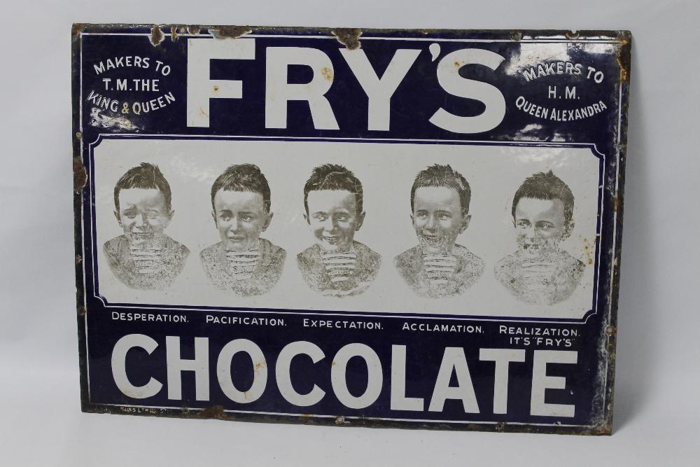 "A FRY'S CHOCOLATE ""FIVE BOYS"" ENAMEL ADVERTISING SIGN, 76 cm x 56 cm A/F"