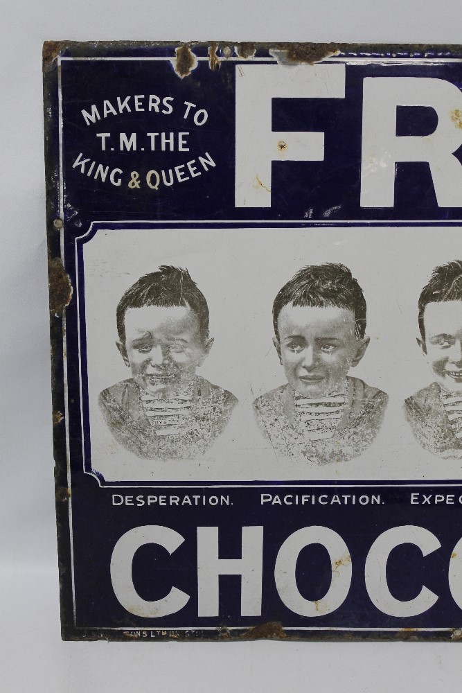 """A FRY'S CHOCOLATE """"FIVE BOYS"""" ENAMEL ADVERTISING SIGN, 76 cm x 56 cm A/F - Image 2 of 5"""