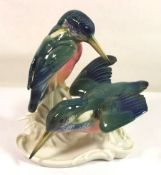 "Figurengruppe ""Eisvögel"", ENS Mühlenmarke, polychr. Bemalung in Unterglasurfarben, 1x Vogel"
