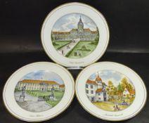 """3 Wandteller """"Kaiser"""" mit Schlossansichten, D-26 cm"""