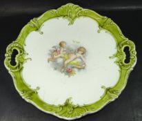 Kuchenplatte, mittig mit Putti, altrissig, D-32 cm