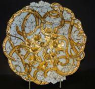 """grosse Prunkschale """"Meissen"""" Relief-und Goldstaffage, Schwertermarke, 1.Wahl, H-6 cm, D-29 cm,"""