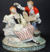 grosse Figurengruppe bemalt, gemarkt Ernst Bohne Söhne in Rudolstadt, 1901-1937, H-21 cm, B-21 cm,