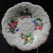 """Schale """"Meissen"""" Relief -und florales Dekor mit Früchten, Goldstaffage tw. abgerieben,"""